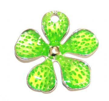 1pce x 33mm*33mm Lime green enameled alloy five petal flower charms / pendants